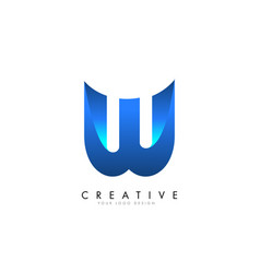 w letter logo design with 3d and ribbon effect vector image