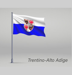 Waving flag trentino-alto adige - region of vector