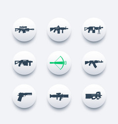 weapons firearms icons set sniper and assault vector image