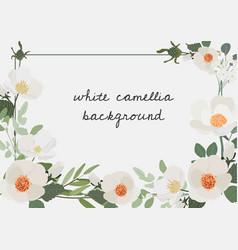 white camellia flower bouquet wreath frame vector image