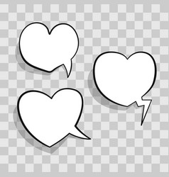 White speech bubble in heart shape for chat in vector