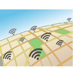 Wifi hotspots in an urban area vector