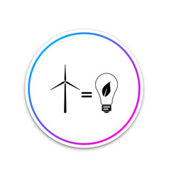 wind turbine and light bulb with leaves icon vector image