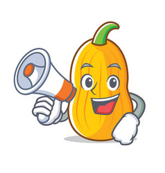 With megaphone butternut squash character cartoon vector