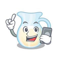 With phone natural milk jug in a cartoon vector