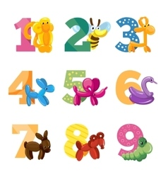 Birthday anniversary cartoon numbers with cute vector image vector image