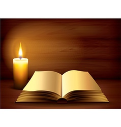 candle book dark background vector image vector image