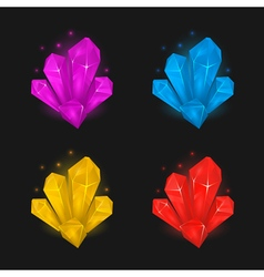 Crystals and diamonds resources set for game vector image
