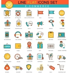 e-commerce flat line icon set Modern vector image vector image