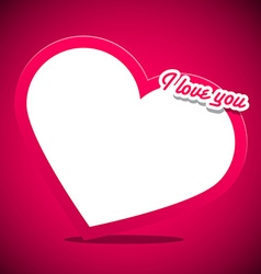 Heart with I Love You Title on Pink Background vector image vector image