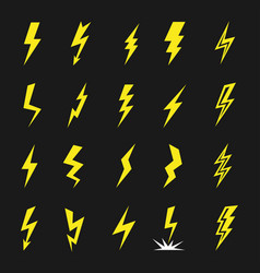 lightning strikes icon flat set vector image