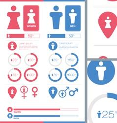 Male Female Gender Signs Set Information Graphics vector image