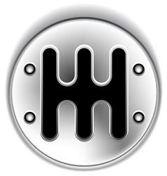 manual chrome gear shifter vector image
