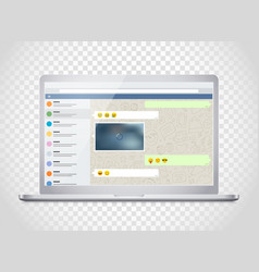 Notebook with messenger application on the screen vector