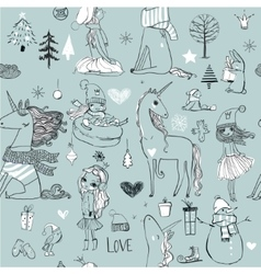 seamless pattern with doodle princess and unicorn vector image