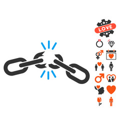 chain damage icon with love bonus vector image vector image