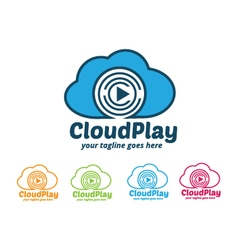 Cloud Play Logo Cloud Music Logo vector image vector image