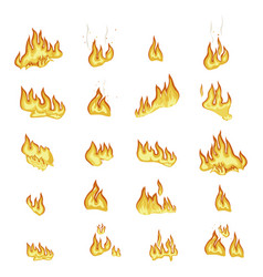 fire flame signs collection on white background vector image