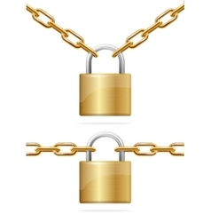 Golden Chain and Padlock vector image vector image