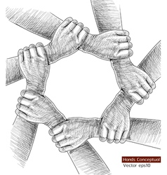 hands Drawing Concept vector image vector image