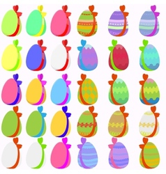Set of 30 easter eggs with bow vector image vector image