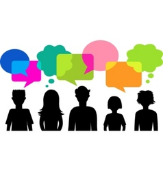 silhouette of young people with speech bubbles vector image