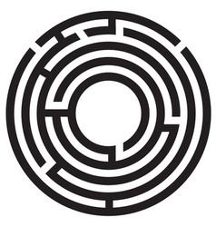 circle maze symbol on white background round maze vector image vector image