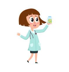 comic woman doctor character with bob haircut vector image vector image