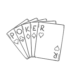 five poker cards vector image