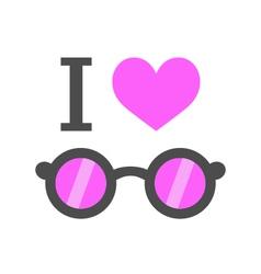 i love pink glasses vector image