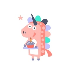 Unicorn With Party Attributes Girly Stylized Funky vector image vector image