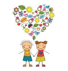 Cartoon couple and love symbols vector image