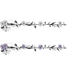 dividers with flowers of viola vector image vector image