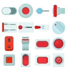 On off switch web buttons icons set cartoon style vector