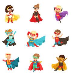 Superhero girls and boys set kids in superhero vector