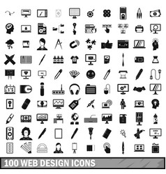 100 webdesign icons set simple style vector image