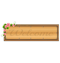 A signage with pink floral border vector image
