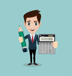 Accountant with a calculator and pencil vector