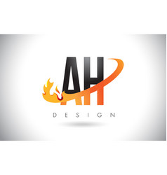 Ah a h letter logo with fire flames design vector
