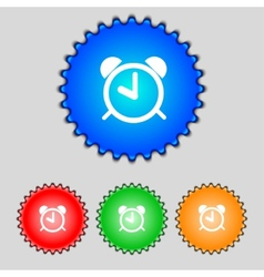 Alarm clock sign icon Wake up alarm symbol Set vector image