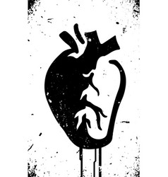 Anatomical heart stencil style with dripping vector