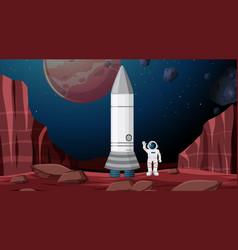 Astronaut and rocket scene vector