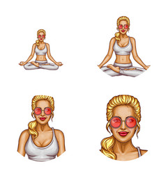 avatar of girl doing yoga padmasana vector image