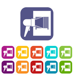 bar code on cargo icons set vector image