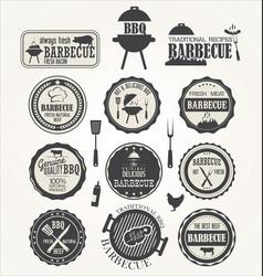 barbecue retro badge collection vector image