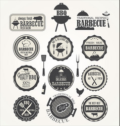 barbeque retro badge collection vector image