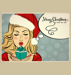 beautiful retro christmas card with sexy santa vector image