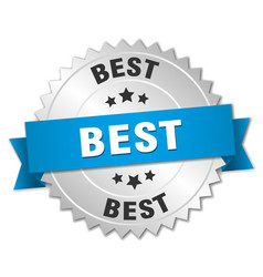 Best 3d silver badge with blue ribbon vector