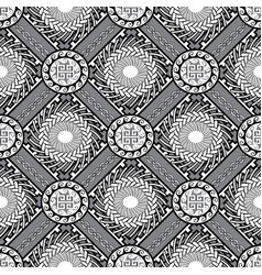black and white geometric greek seamless pattern vector image