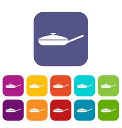 Black frying pan icons set vector